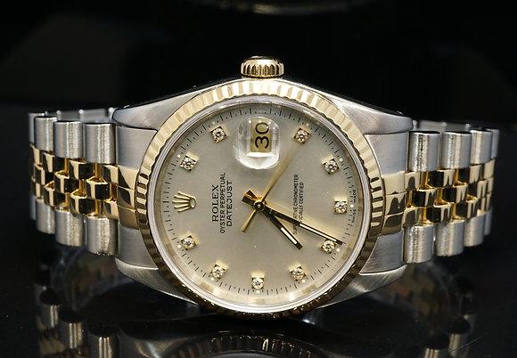 ROLEX 1992 Datejust 36, Steel & Gold, 16233, Diamond Dot, Box & Papers