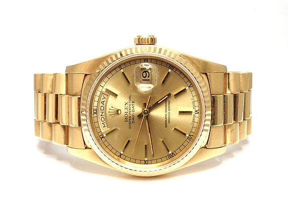 ROLEX 1990 Day-Date 36, 18238, 18ct Yellow Gold, Box & Papers