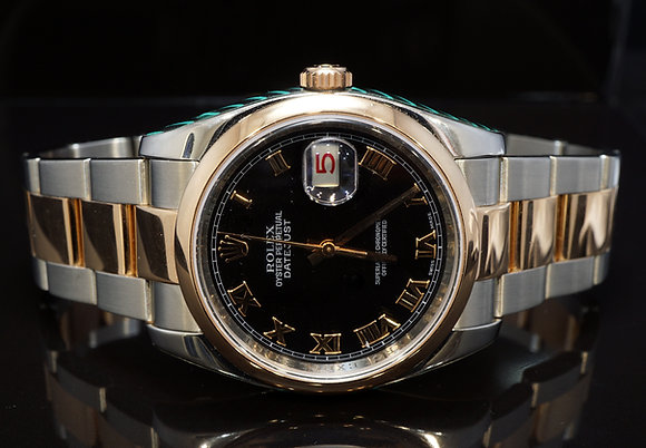 ROLEX 2008 Datejust 36, Steel & Rose Gold, Serviced by Rolex, 116201, Boxed
