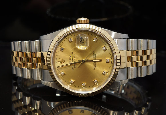 ROLEX 1994 Datejust 36, Steel & Gold, 16233, Diamond Dial, Box & Papers