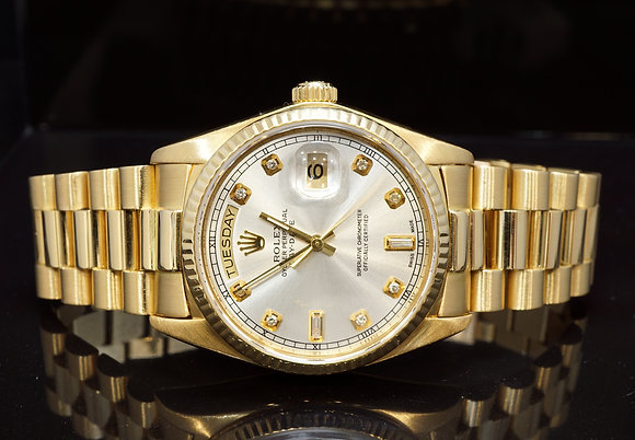 ROLEX 1981 Day-Date 36, 18ct Yellow Gold,  18038, Diamond Dot, Boxed