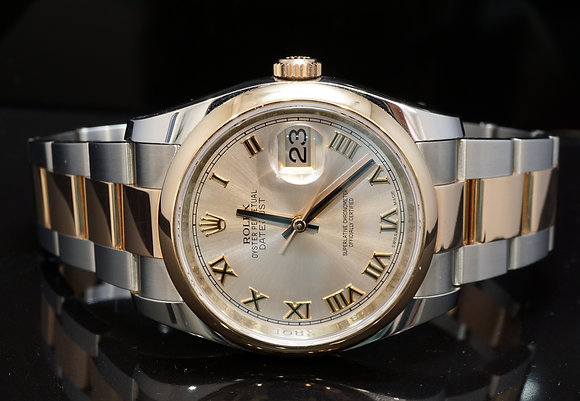 ROLEX 2017 Datejust 36, Steel & Rose Gold, 116201, Pink Roman, Box & Papers