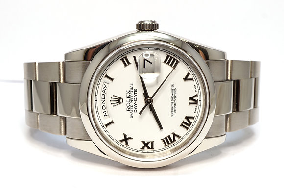 ROLEX 2002 Day-Date 36, 118209, 18ct White Gold, Oyster, Box & Papers