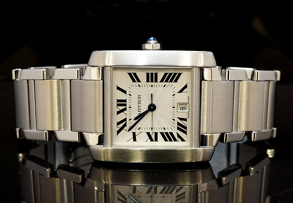 CARTIER Tank Francaise, Large Auto, Cartier Service July 2016, As new