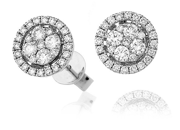 18ct White Gold Halo Cluster Stud Earrings