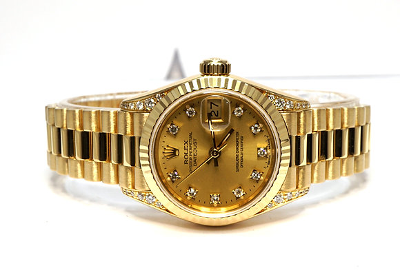 ROLEX 1991 Datejust 26, 69158, 18ct Yellow Gold, Diamond Dial & Shoulders
