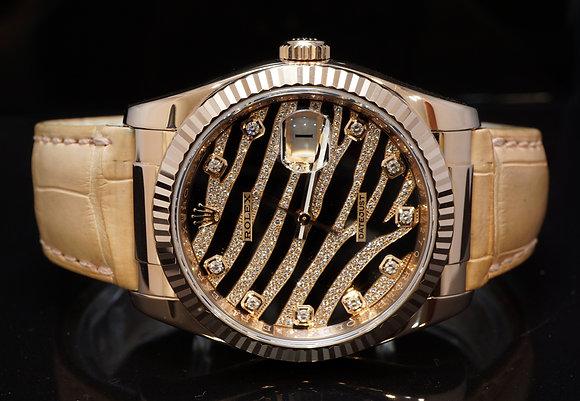 ROLEX 2010 36mm Datejust, 18ct Rose Gold, Zebra Diamond Dial, 116135