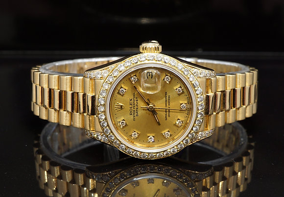 ROLEX 1991 Datejust 26, 18ct Yellow Gold, Diamond Dial, Bezel & Lugs, Boxed