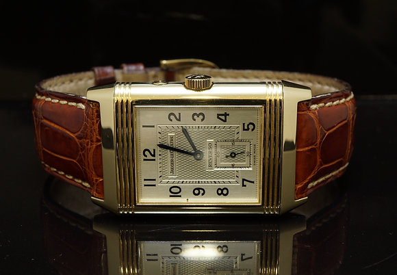 JAEGER LE COULTRE 18ct yellow Gold Reverso Night & Day, MINT