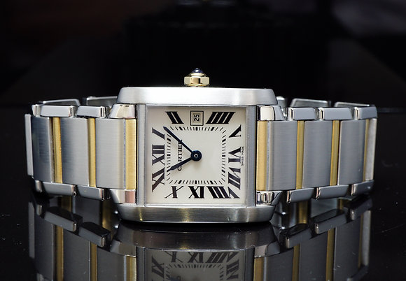 CARTIER Mid Size Tank Francaise, Steel & Gold, 2465, Just serviced by Cartier