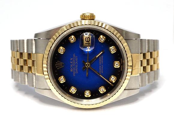 ROLEX 1995 Datejust 36, 16233, Blue Vignette Diamond Dot Dial, Boxed