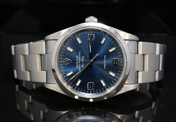 ROLEX 2001 Air-King,Blue Dial, 14000m, Box & Papers