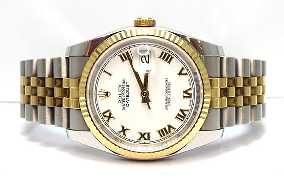 ROLEX 2017 Datejust 36, 116233, Steel & Gold, White Roman, Box & Papers