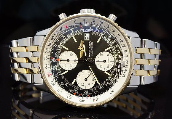 BREITLING Old Navitmer II, B1309, Steel & Gold, Just Serviced by Breitling