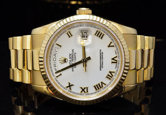 ROLEX 2004 Day-Date 18ct Yellow Gold, 118238, MINT, Rolex Service July 2017, B&P