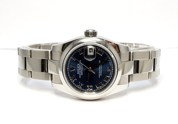 ROLEX 2008 Datejust 26, 179160, Blue, Jubilee, Box & Papers