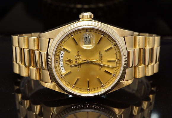 ROLEX 1981 Day-Date 36, 18ct Yellow Gold, 18038, Champagne, Boxed
