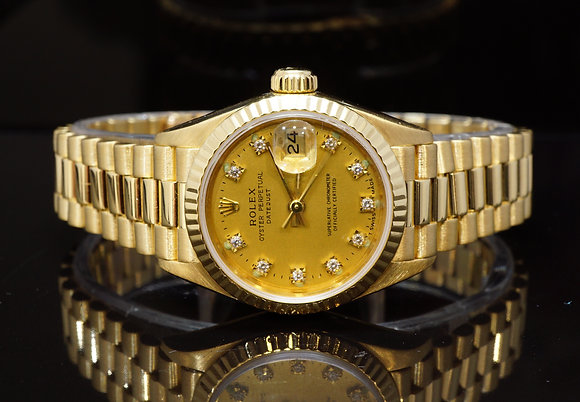 ROLEX 1993 26mm Datejust, 18ct Yellow Gold, Diamond Dot Dial, MINT