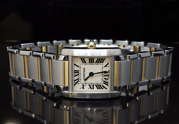CARTIER 2001 Ladies Tank Francaise, Steel & Gold, W51007Q4, MINT, Box & Papers