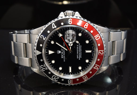 """ROLEX 1989 GMT Master II """"Coke"""", 16710, Service History, Box & Papers"""
