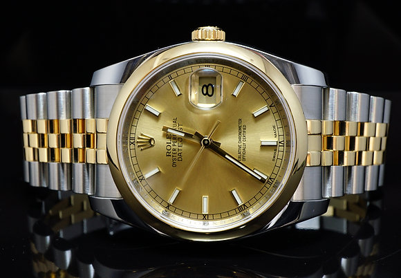 ROLEX 2014 36mm Datejust, Steel & Gold, MINT, Box & Papers