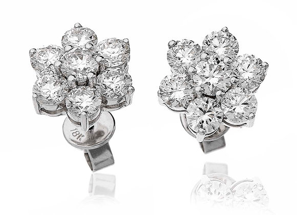 18ct White Gold Diamond Cluster Studs, 2.80ct