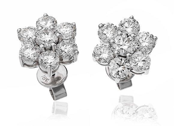 18ct White Gold Diamond Cluster Studs, 2.80ct
