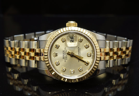 ROLEX 2010 26mm Datejust, Steel & Gold, Diamond Dot Dial, 179173, Box & Papers