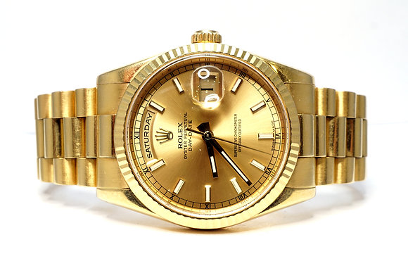 ROLEX 2009 Day-Date 36, 118238, President, Champagne Baton, Box & Papers