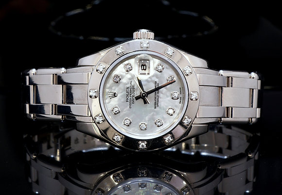 ROLEX 18ct White Gold Pearlmaster, 2006, Diamond MOP Dial, Box & Papers