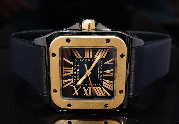 CARTIER Santos 100, Black PVD & Rose Gold, W2020007, MINT