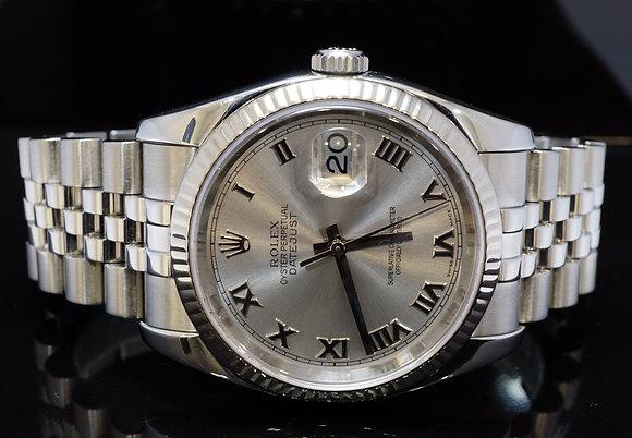 ROLEX 2005 36mm Datejust, Steel, White gold BEzel, 116234, Boxed