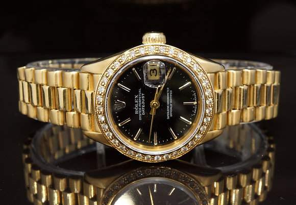 ROLEX 1987 26mm Datejust, 18ct Yellow Gold, President, 69178, Diamond Bezel