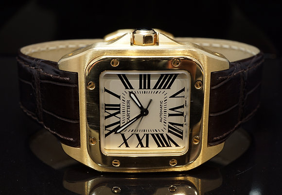CARTIER Santos 100, 18ct Yellow Gold, W20112Y1, Boxed