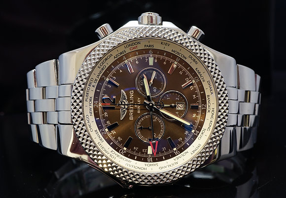 BREITLING 49mm Bentley GMT, Steel, A47362, MINT, Serviced, Box & Papers