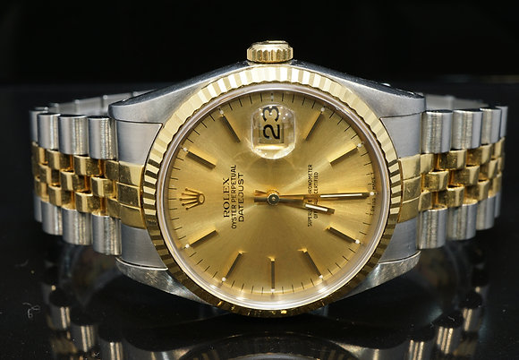 ROLEX 1991 36mm Datejust, Steel & Gold, 16233, Box & Papers