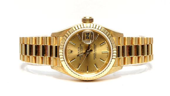 ROLEX 1997 Dayejust 26, 69178, UNWORN, Champagne Baton, 18ct Gold, Box & Papers