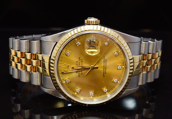 ROLEX 1991 36mm Datejust, Steel & Gold, 16233, Diamond Dot, MINT, Boxed