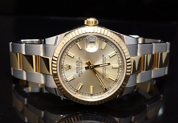 ROLEX 2016 31mm Datejust, Steel & Gold, 178273, MINT, Box & Papers