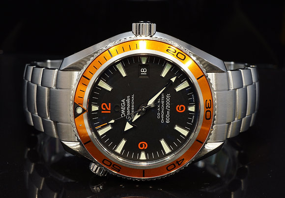 OMEGA 42mm Planet Ocean, 22095000, Orange Bezel, Box & Papers
