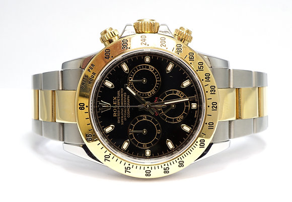 ROLEX 2015 Daytona Steel & Gold, 116523, Black Dial, Box & Papers