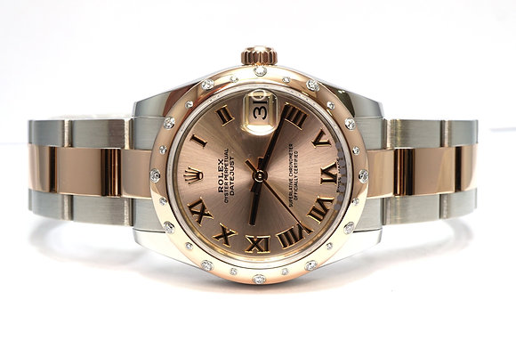 ROLEX 2018 Datejust 31, 178341, Steel & Rose Gold, Diamond Bezel, Box & Papers