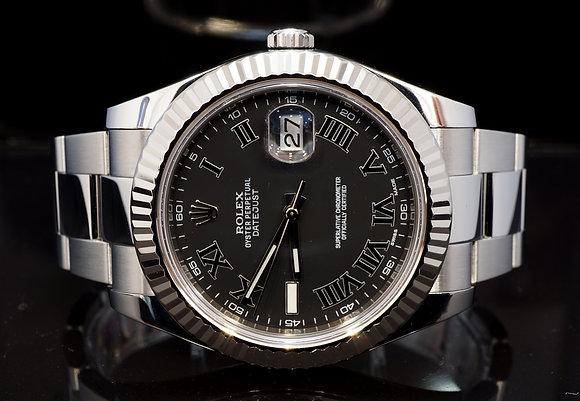 ROLEX 2011 Datejust II, Steel, 116334, Grey Roman Dial,  Box & Papers