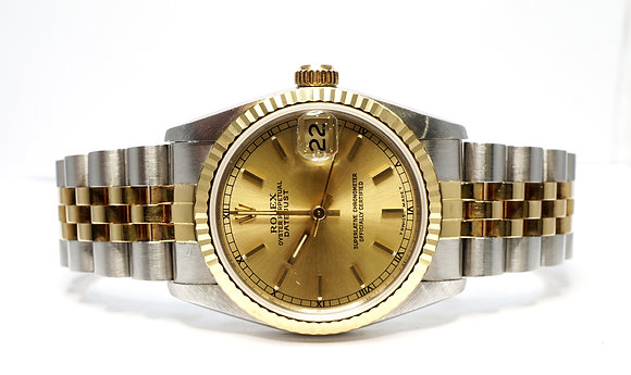 ROLEX 1993 Datejust 31, 68273, Steel & Gold, Champagne Baton, Box & Papers