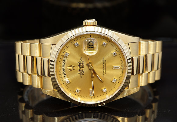 ROLEX 1993 Day-Date 36, 18238, 18ct Yellow Gold, Diamond Dot Dial, Box & Papers