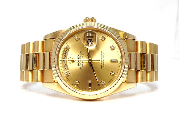 ROLEX 1991 Day-Date 36,18238, Diamond Dot Dial, Rolex Service, Box & Papers