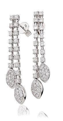 18ct White Gold Diamond Double Drop Earrings