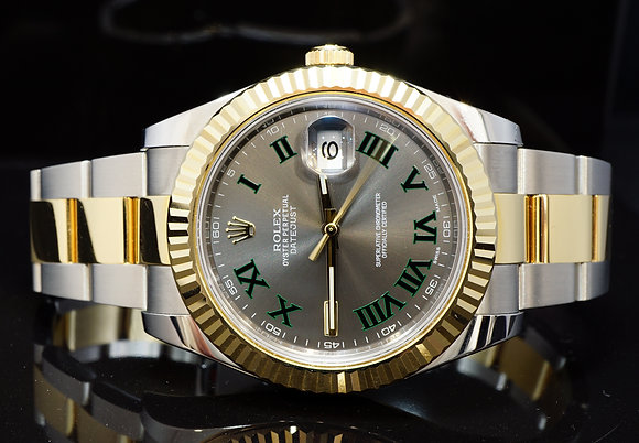"ROLEX 2015 41mm Datejust 2, Steel & Gold, ""Wimbledon"", 116333, Box & Papers"