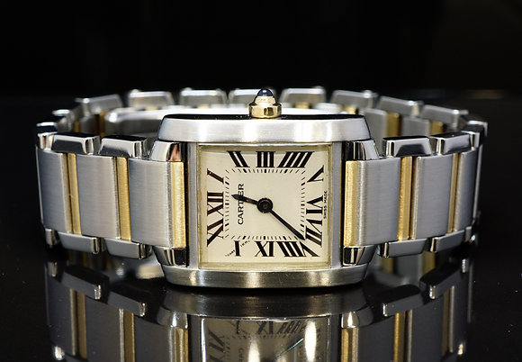 CARTIER 2002 Tank Francaise, Steel & Gold, W51007Q4, MINT, Box & Papers