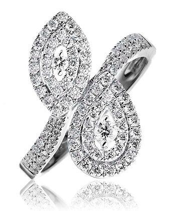 18ct White Gold Diamond Cross Over Cluster ring